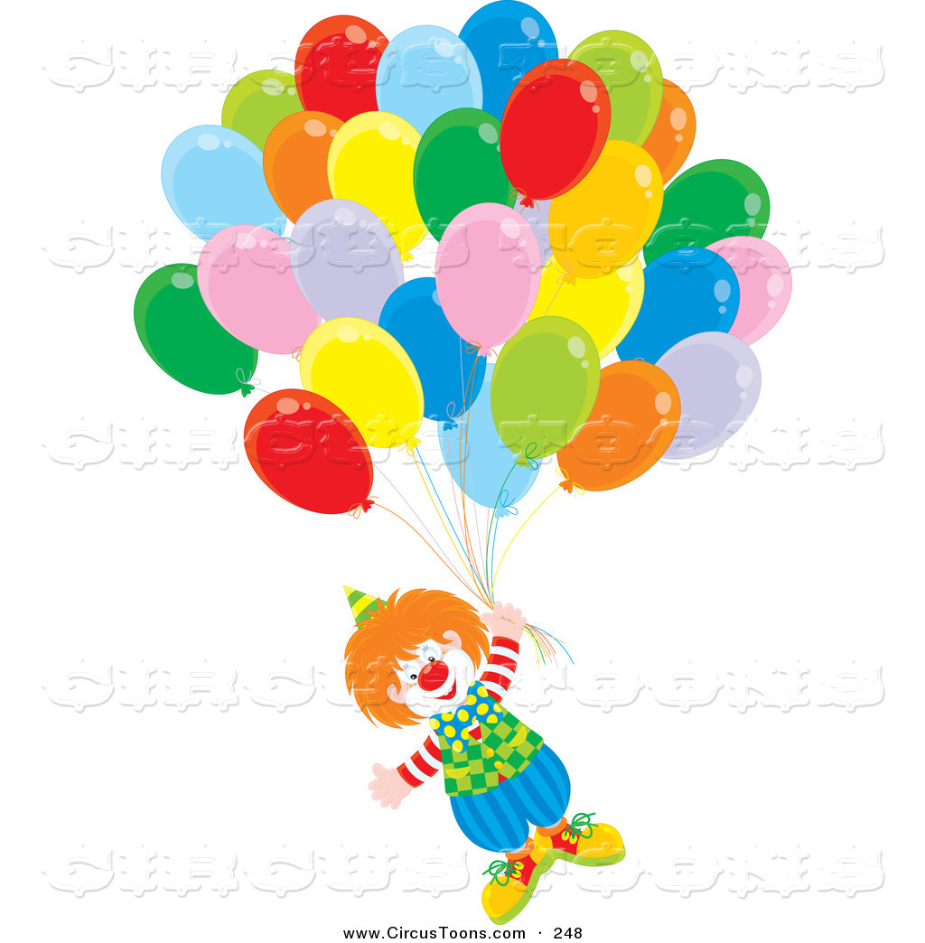 Circus Clipart Of A Happy Clown Floating Up With Balloons By Alex
