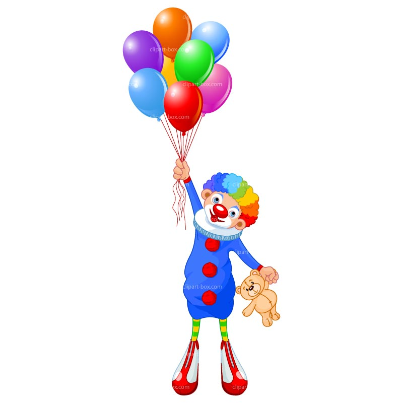 Clipart Clown With Balloon   Royalty Free Vector Design