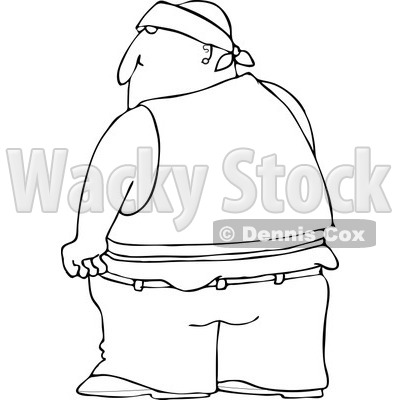 Clipart Of A Black And White Rear View Of A Gang Banger In Low Pants