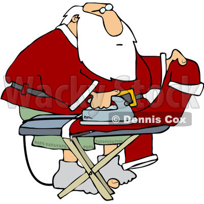 Clipart Santa Ironing His Pants   Royalty Free Vector Illustration