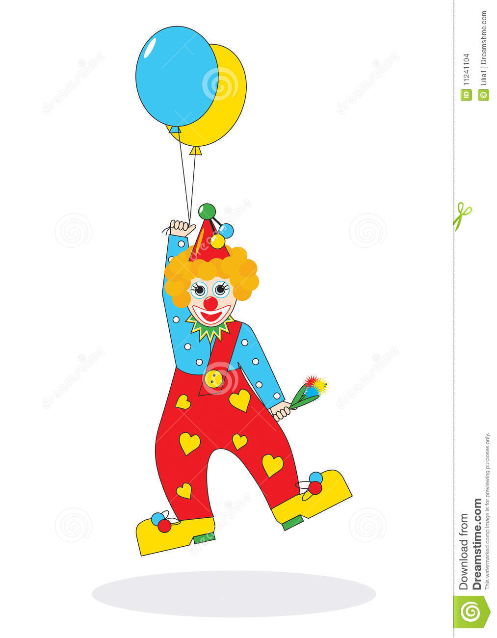Clown With Balloon Clipart Flying Clown With Balloons