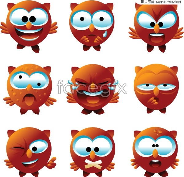Crying Owl Clipart A Set Of Cute Cartoon Owl
