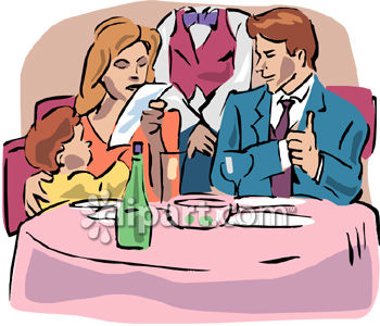 Family Eating Restaurant Clipart