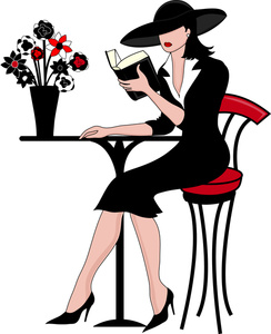 France Clipart Image  Beautiful And Elegant Woman Reading A Book At An