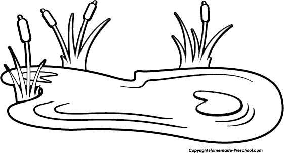 Coloring Pages Pond Animals : Duck pond black and white clipart suggest