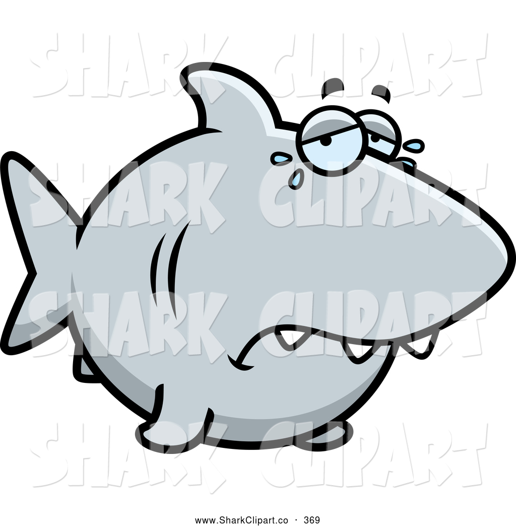 Larger Preview  Clip Art Of A Sad Crying Shark Swimming Lonely In The