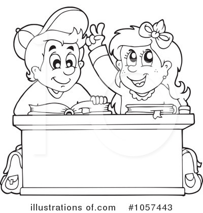 Black and White School Kids at School Clip Art  Black and