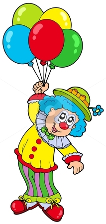 Smiling Clown With Balloons Stock Vector Clipart Funny Smiling Clown