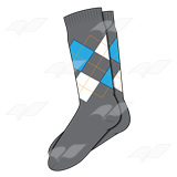 Sock Pair  With Black White Blue And Orange Argyle Pattern