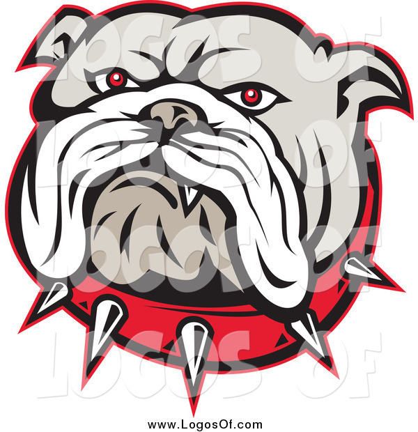 Vector Clipart Of An Angry Red Eyed Bulldog Face And Spiked Collar