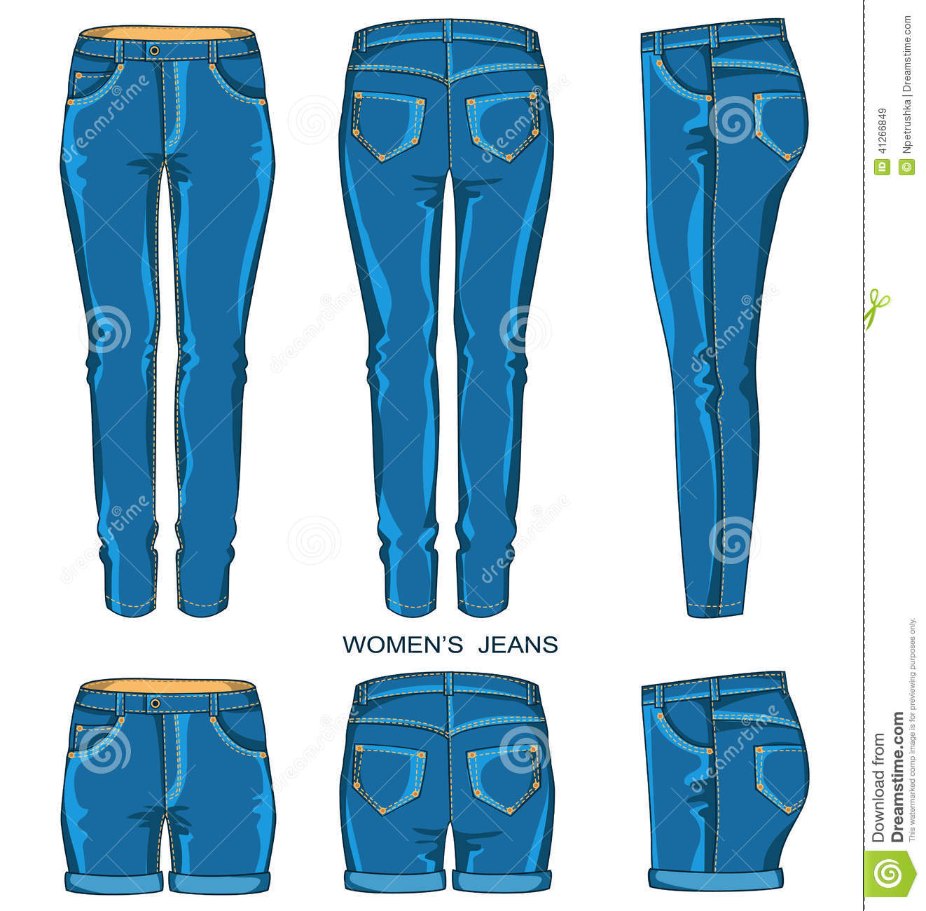 Women Jeans Pants And Shorts Isolated For Design Vector Fashion