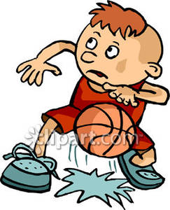 Young Boy Bouncing A Basketball   Royalty Free Clipart Picture