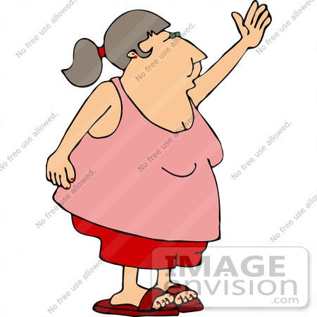 14593 Obese Middle Aged Woman In Shorts And A Tank Top Waving Clipart