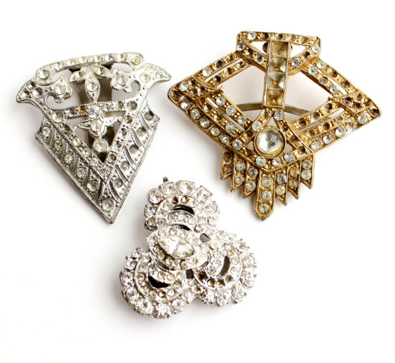 Antique Art Deco Rhinestone Dress Clip Buckle Repair Lot   3 Large