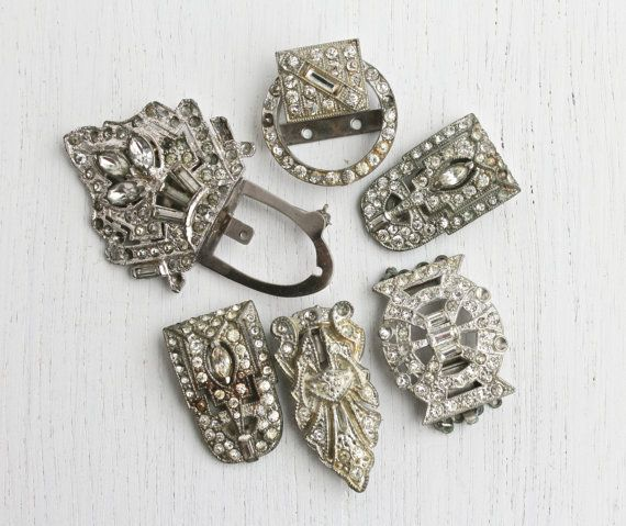 Antique Art Deco Rhinestone Dress Clip Repair Lot   7 Silver Tone