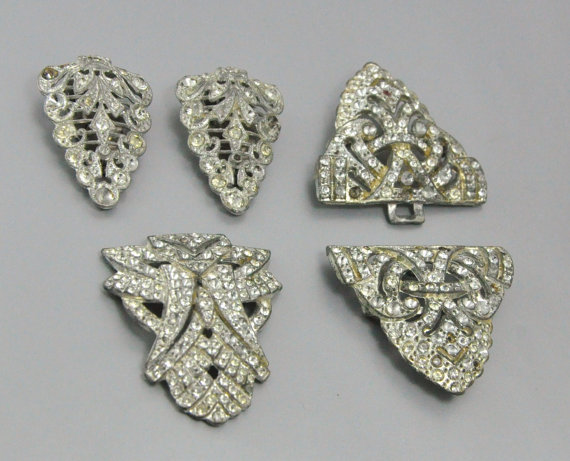 Art Deco Jewelry Destash Rhinestone Dress Clip Antique Jewelry Destash