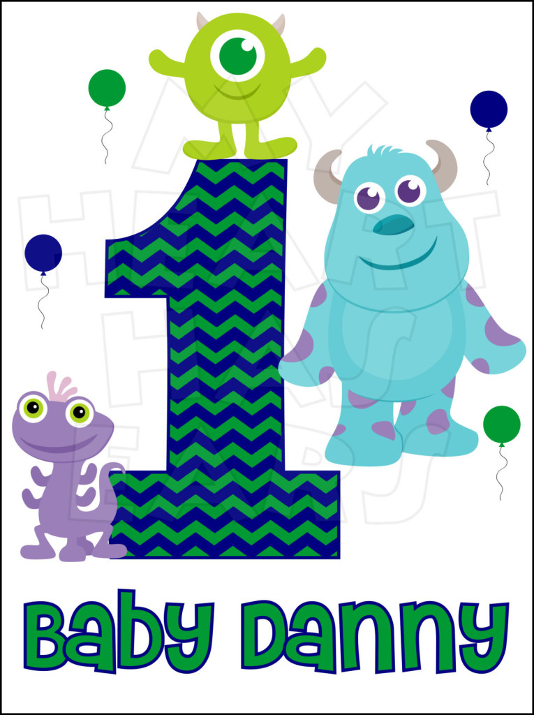 Baby Monsters Inc  Birthday Boy Any Name And Number Personalized