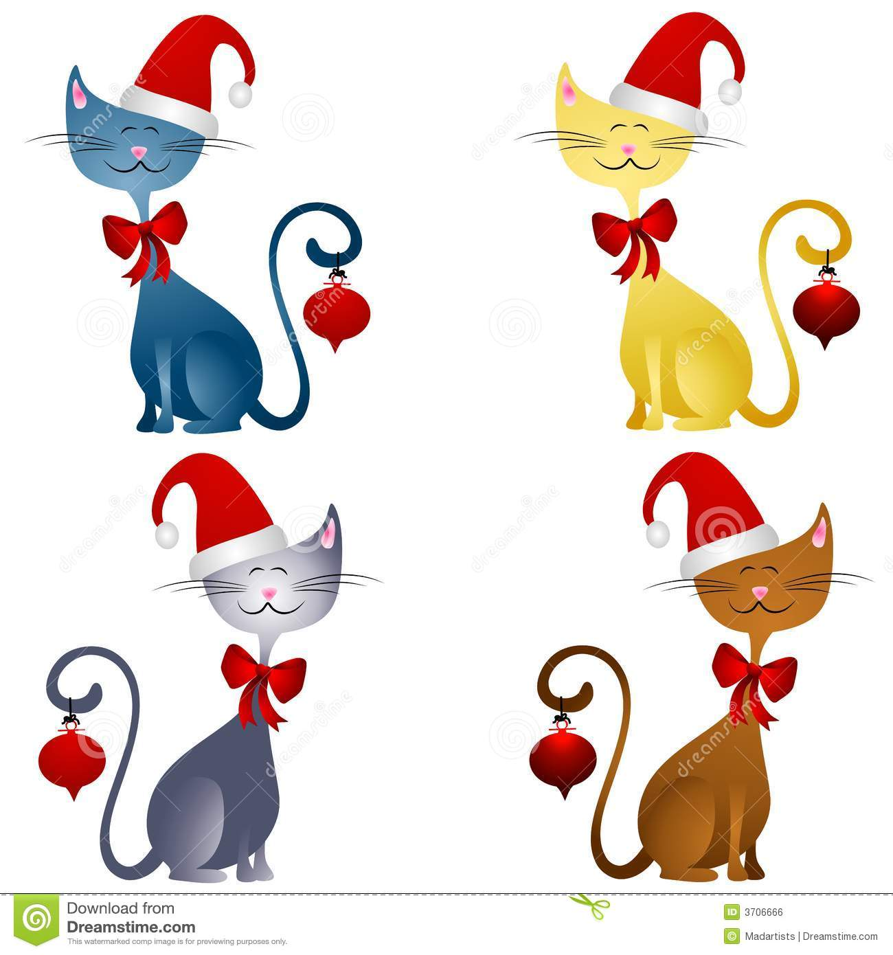 Cartoon Christmas Cats Clip Art 2
