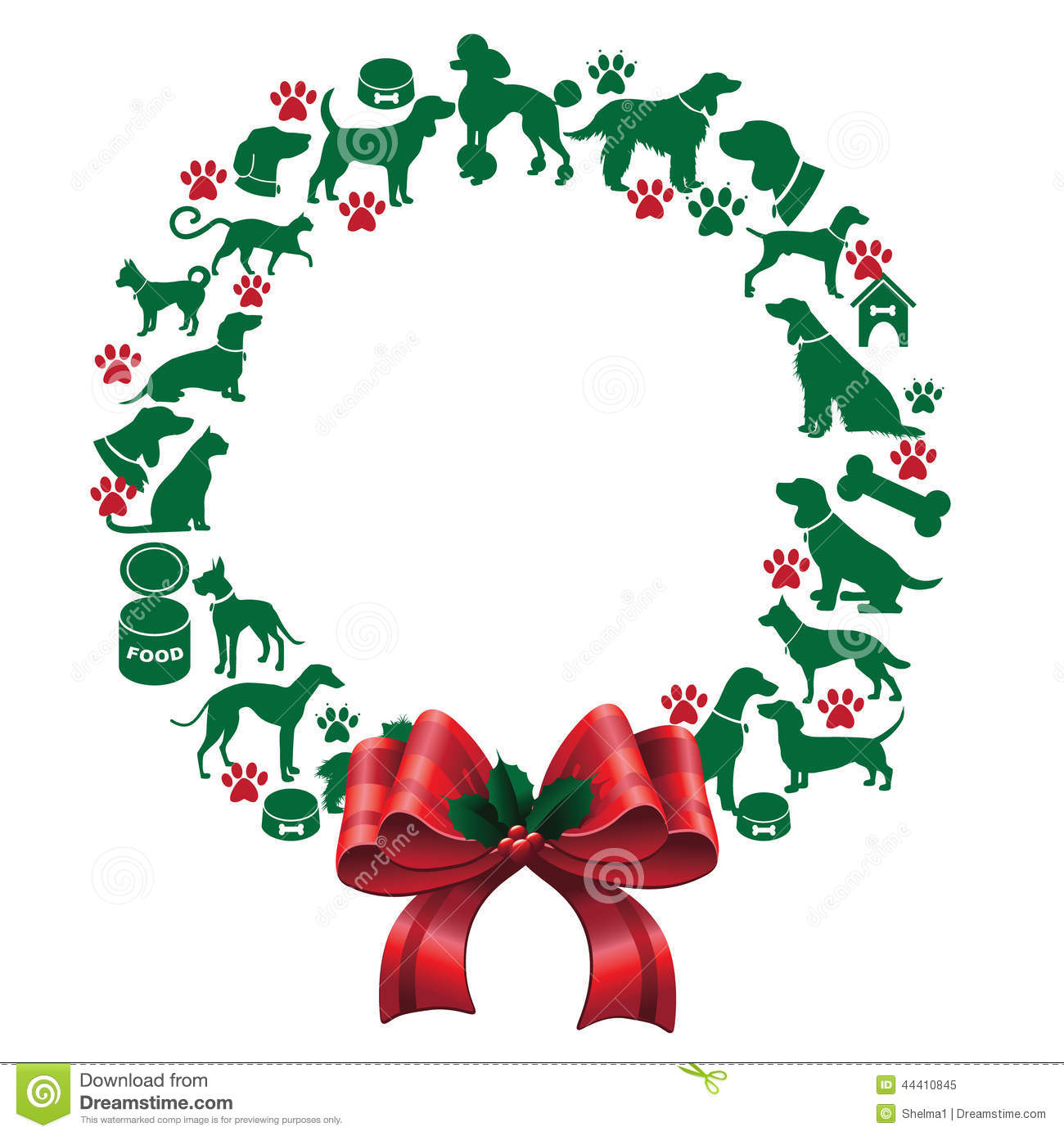 Cartoon Dogs And Cats Christmas Wreath Stock Vector   Image  44410845