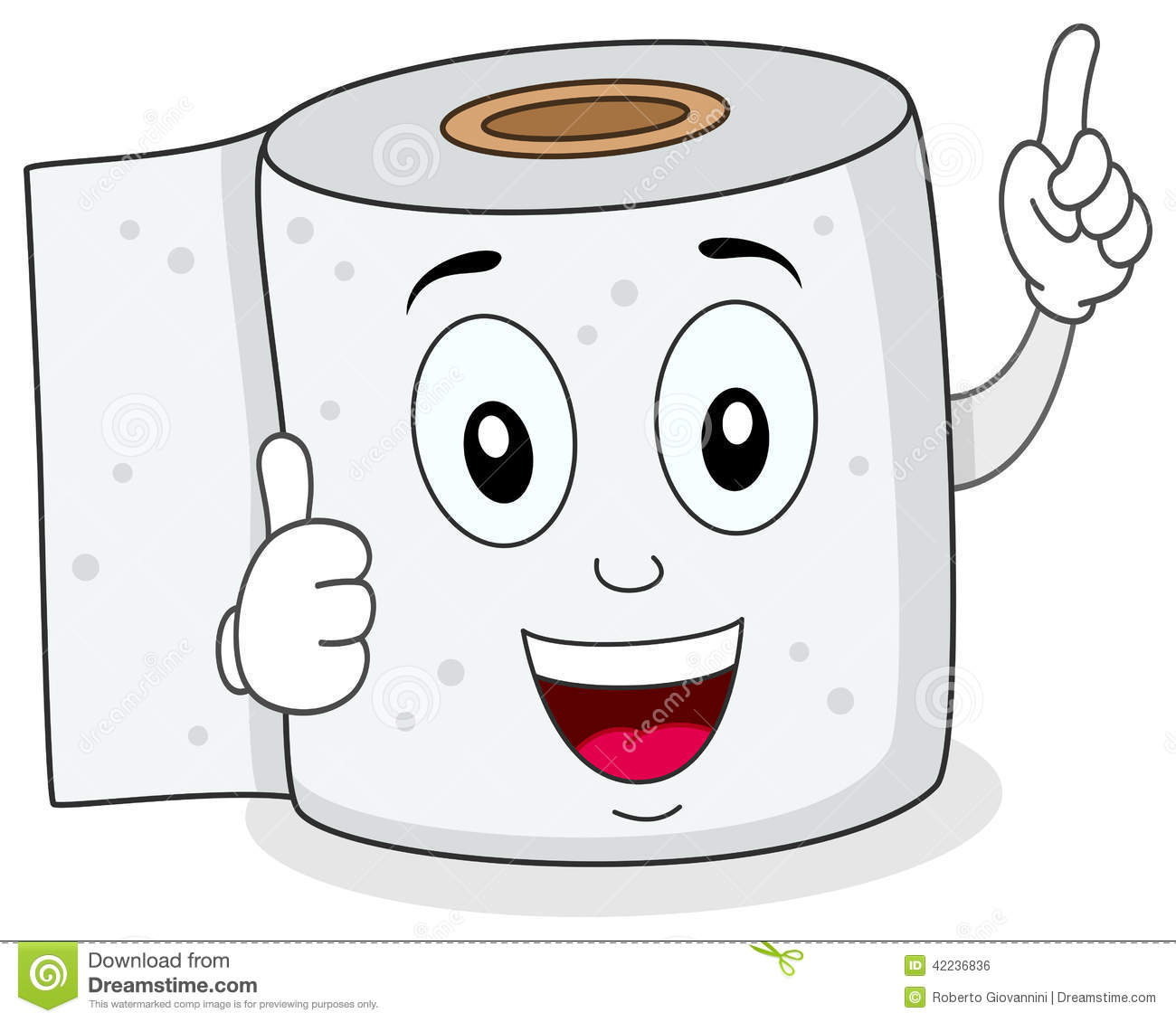 Cheerful Toilet Paper Smiling Character Stock Vector   Image  42236836