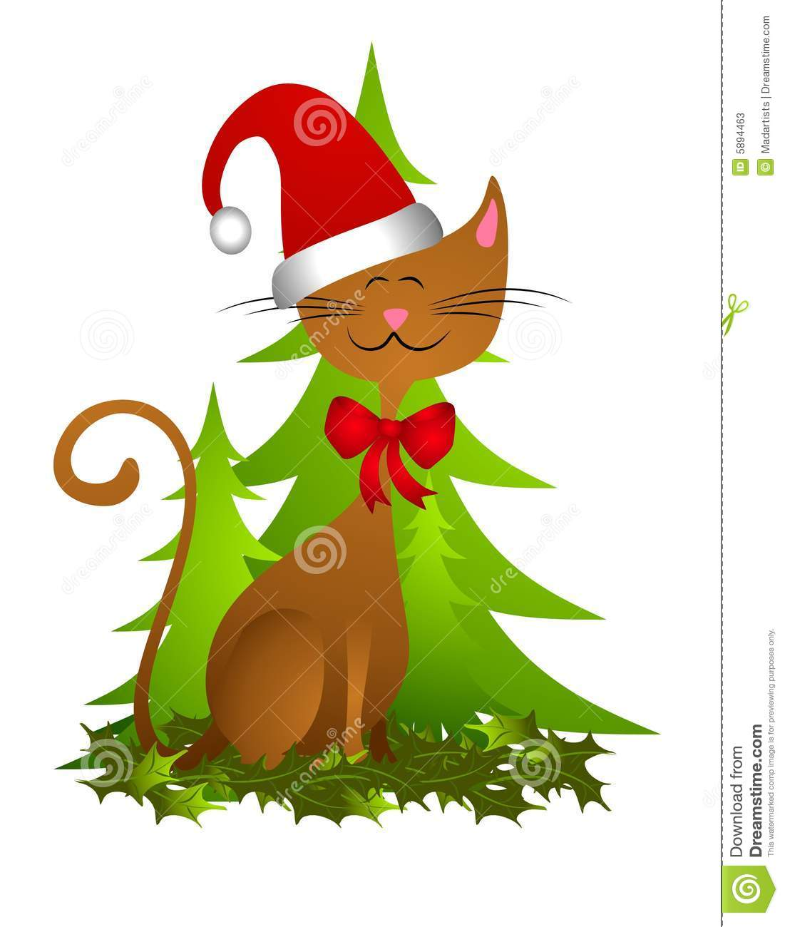 Clip Art Illustration Featuring A Cute Cat Wearing Santa Hat With Bow