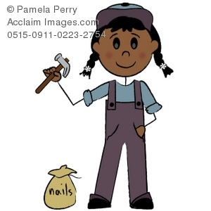 Clip Art Illustration Of A Stick Figure Female Repair Person   Acclaim