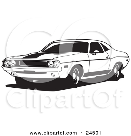 Clipart Illustration Of A Light Blue 1970 Dodge Challenger Rt With A