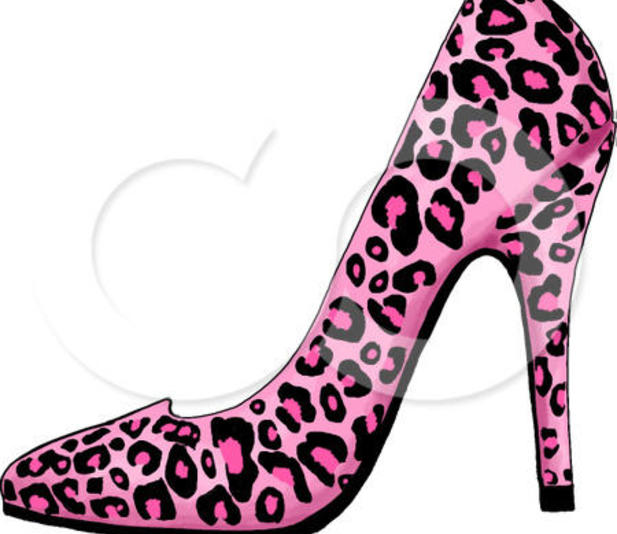Clipart Illustration Of A Pink Leopard Print High Heel Shoe On White
