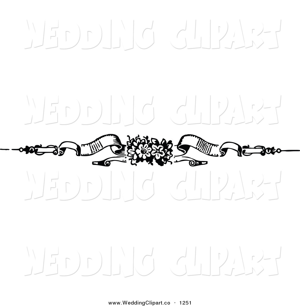 Clipart Of A Black And White Floral Wedding Banner Page Divider By