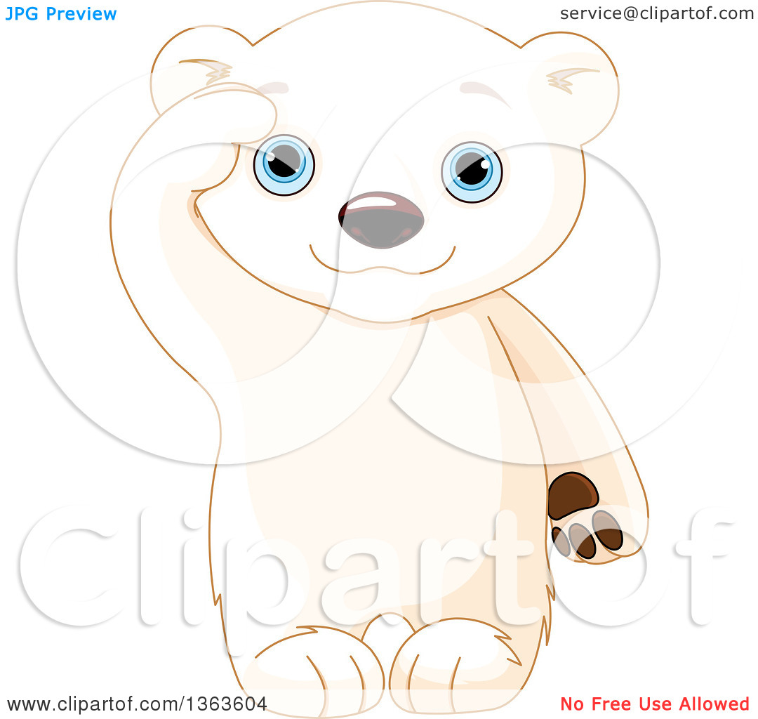 Clipart Of A Cute Baby Polar Bear Cub Saluting   Royalty Free Vector