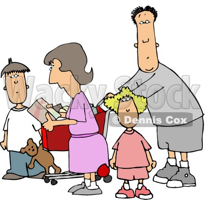 Family Grocery Shopping Together Clipart   Djart  4711