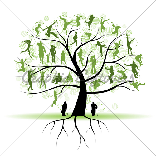 Family Tree Relatives People Silhouettes   Gl Stock Images