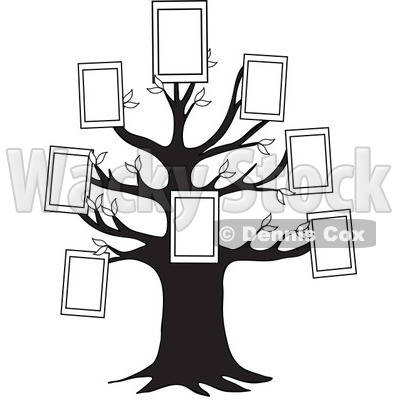 Family Tree With Picture Frames   Royalty Free Vector Clipart   Djart