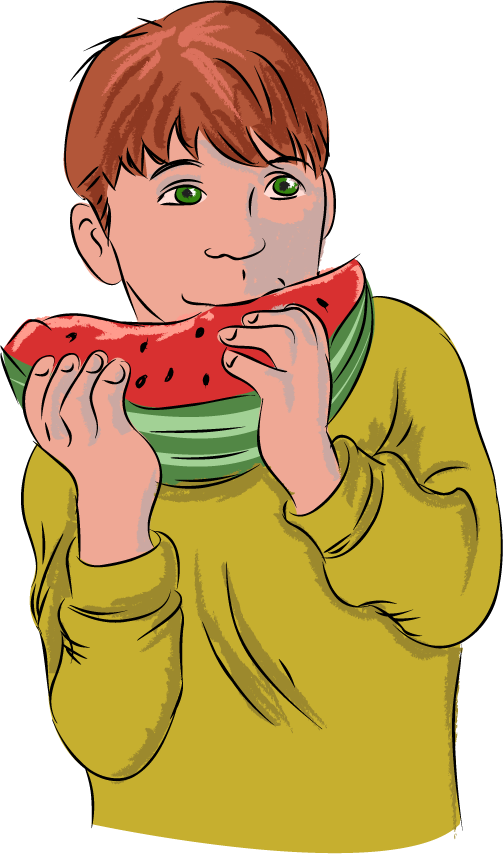 Free Clip Art  People   Everyday People   Boy Eating Watermelon