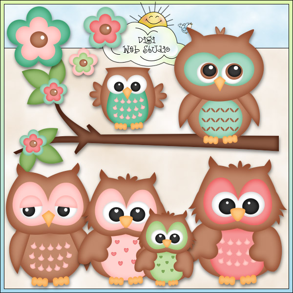 Mother And Baby Owl Clip Art Cute Owls 2   Ne Kristi W
