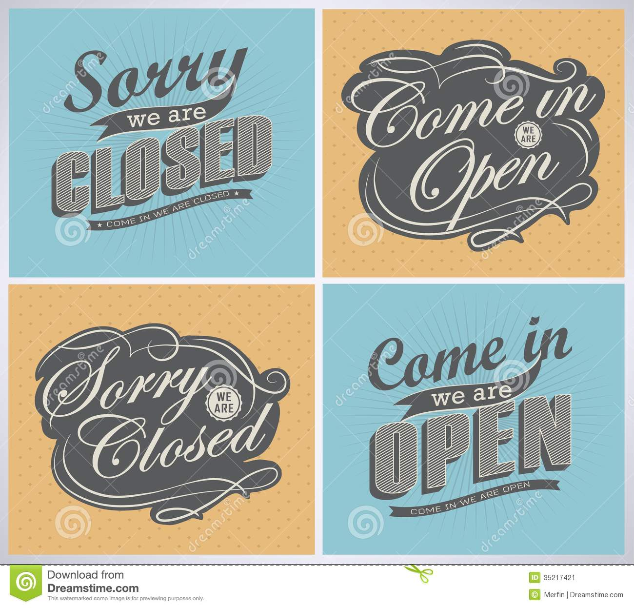 Open And Closed Vintage Retro Signs  Typography Design Drawing With