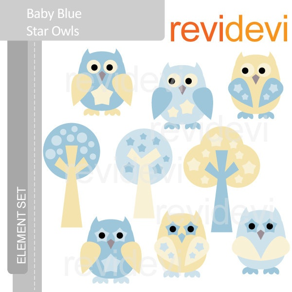 Owl Clip Art   Baby Blue Star Owls E050   Element Set   Cute Digital
