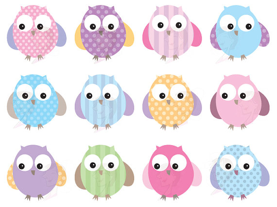 Owls Clip Art Cute Pastel Digital Pink Owl Bird Clipart Commercial