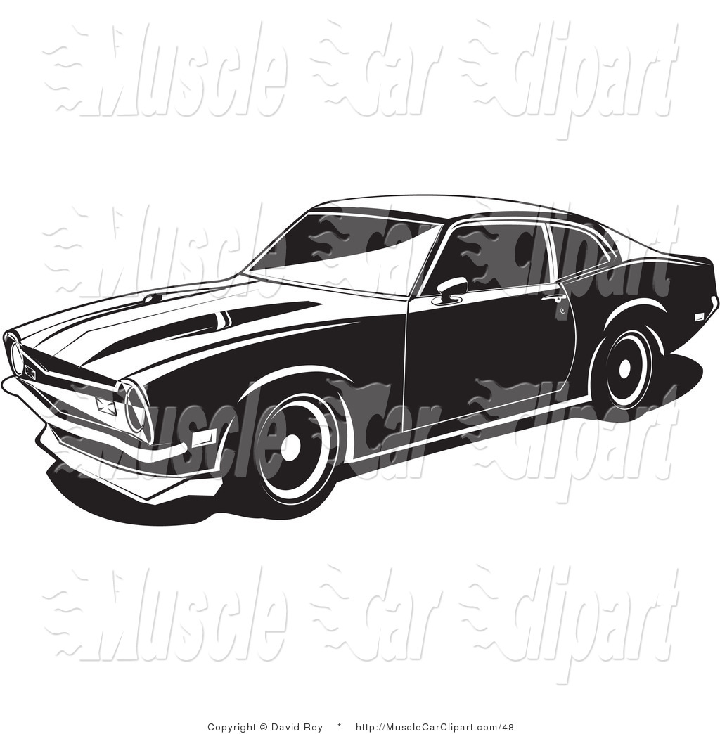 Preview  Automotive Clipart Of A 1972 Maverick Muscle Car By