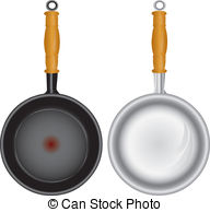 Set Of Saucepans   Steel And Teflon Pans With A Wooden