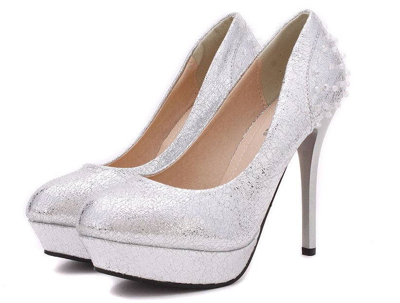 Silver Closed Toe Wedding High Heel Shoes Party Stiletto High Heel Jpg