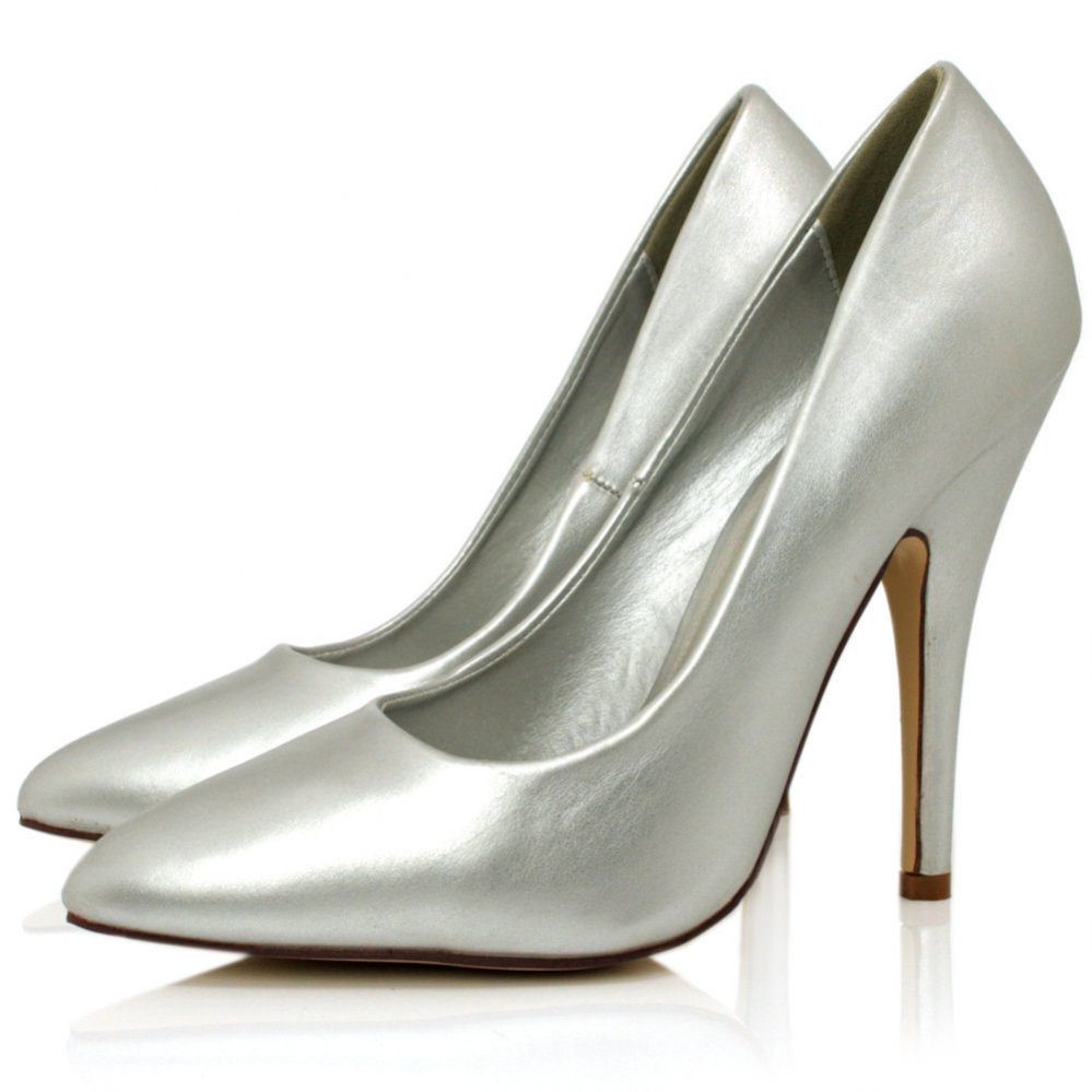 Silver Leather Style Point Toe Shoes   Buy Silver Leather Style