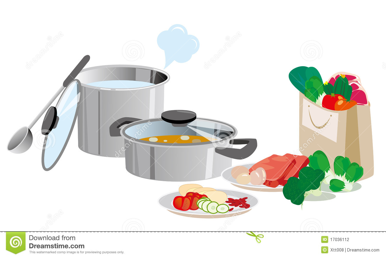 Stock Photography Kitchen Pots And Pans And Food