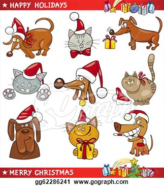 Vector Art   Cartoon Set Of Christmas Cats And Dogs  Clipart Drawing