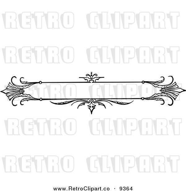 Vector Clipart Of A Retro Black And White Ornate Banner Design By