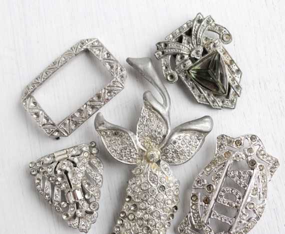 Vintage Art Deco Rhinestone Brooch Dress Clip Repair Lot   5 Large Si