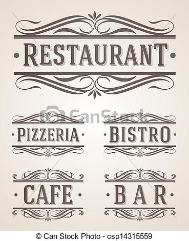 Vintage Store Signs Clipart Vintage Restaurant And Cafe