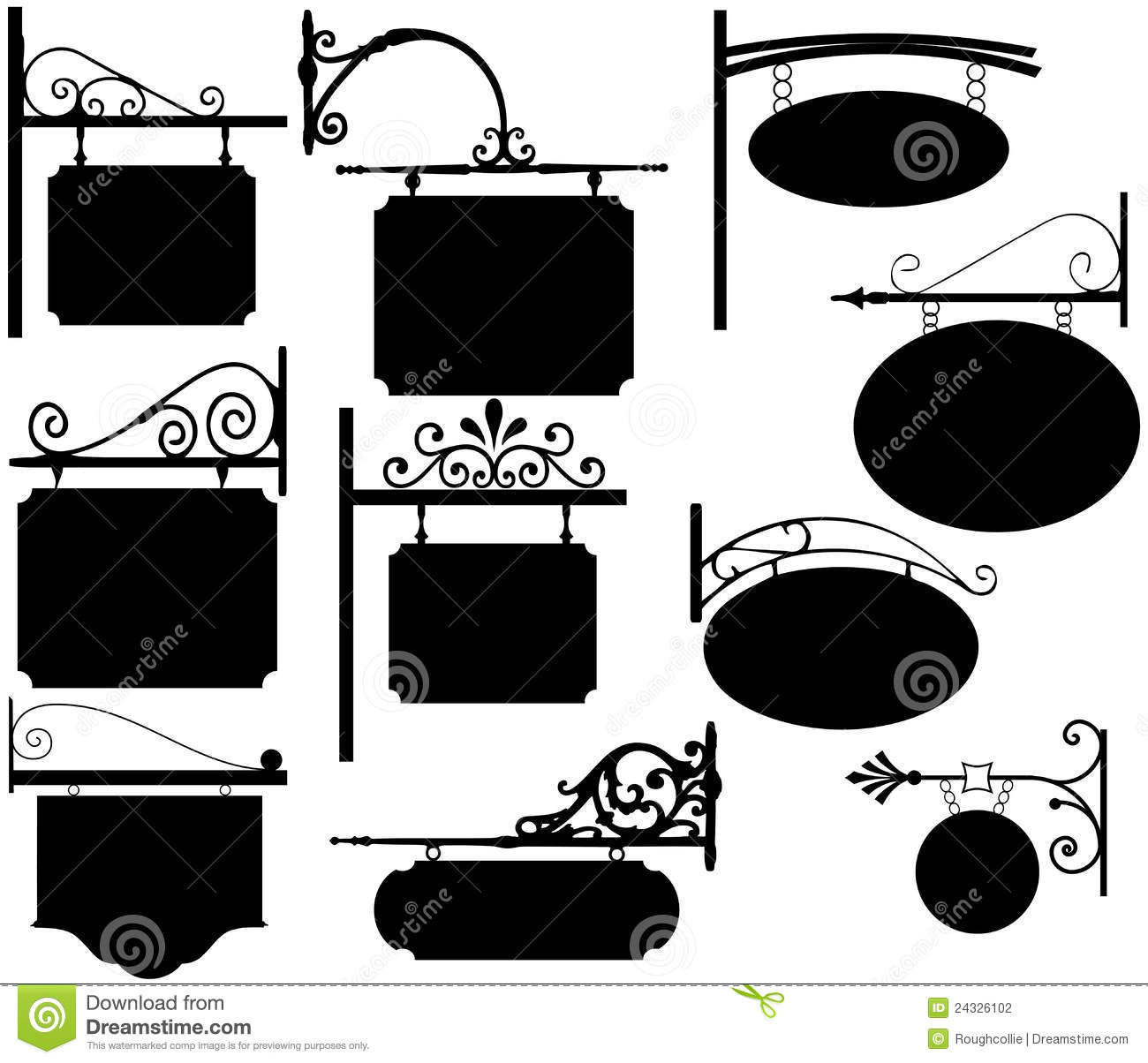 Vintage Store Signs Clipart Wrought Iron Signs Vintage