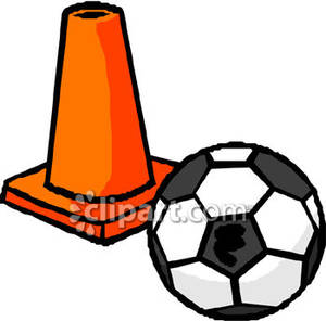 An Orange Cone And A Soccer Bal   Royalty Free Clipart Picture