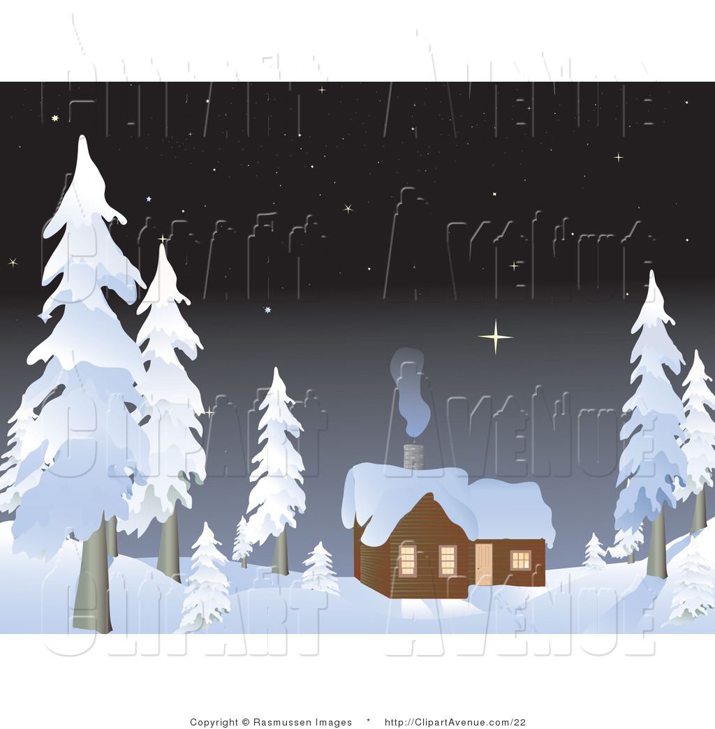 Avenue Vector Clipart Of A Winter Cabin In A Snowy Forest By Rasmussen